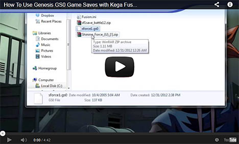 Gens GS0 Save States Tutorial on YouTube