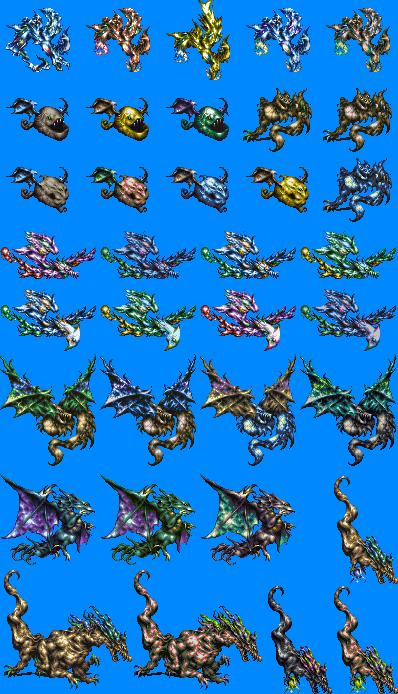 Bahamut Lagoon - Dragon Sprites - Dragon Classes